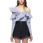 Sexy Striped Oblique Collar manga comprida botão Blusa das mulheres Ruffle