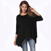 New Fashion Women T-shirt Round Neck 3/4 Sleeves Irregular Hem Loose Tee Shirt Top Branco / Preto
