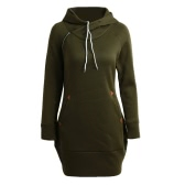 New Fashion Women Long Sweater Hooded Solid Long Sleeve Pockets Zipper Top Casual Warm Hoodies