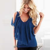 Sexy Women Blusa V Neck Cold Shoulder Ruffles Sem mangas Sólidos T-Shirt Vest Tank Summer Casual Tops