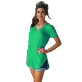 Maglietta delle nuove donne di modo tinta unita con scollo a V manica corta bordo arrotondato lungo partito casual usura top