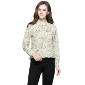 New Women Blouse Floral Print Lace-Up V-Neck Long Sleeves Casual Elegant Loose Top Beige/Yellow