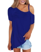 Women Cold Shoulder T-Shirt Cut Out One Shoulder Short Sleeves Loose Solid Casual Top Tee