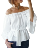 New Sexy Women Chiffon Off Shoulder Blusa Shirt Belted Flare Sleeve Casual Top Sólido