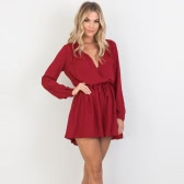 Sexy Women Jumpsuit Solid Deep V-Neck Long Sleeves Elastic Waist Cut Out Casual Romper Black/Beige/Burgundy