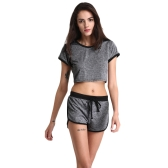 Women Sport Yoga Two-Piece Set Crop Top Shorts O-Neck Short Sleeves Elastic Waist Casual Sportswear Top Trousers