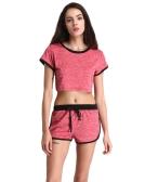 Kobiety Sport Joga Dwuczęściowy zestaw Crop Top szorty O-Neck krótkie rękawy elastyczny pas Casual Odzież sportowa Top Spodnie