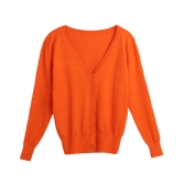 New Women Solid Knitted Cardigan Sweater Coat V-Neck Long Sleeve Female Casual Knitwear Top