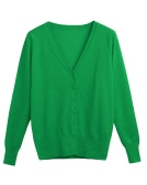 New Women Solid Knitted Cardigan Sweater Coat V-Neck manga comprida feminina Casual Knitwear Top