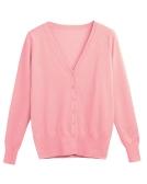 New Women Solid Knitted Cardigan Sweater Coat V-Neck manga comprida feminina Casual Knitwear Top