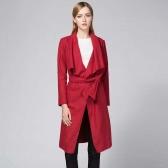 Мода Женщины Длинный кардиган Драпированный Пальто с длинным рукавом Тонкий Твердый Пояс Осень Зимняя Верхняя одежда Шинель