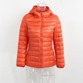 新しい冬の女性ダックダウンフード付きジャケットジッパーロングスリーブスリムライトダウンコート