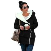 Felpe con cappuccio da donna in inverno delle nuove donne in autunno Felpa con cappuccio in chiusura a zip Felpe con cappuccio Casual Jacket lungo più di formato