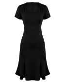 Elegante OL Mulheres Vestido V Neck manga curta de cintura alta Slim Fit Office Dress