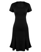 Elegante OL Frauen Kleid V-Ausschnitt Kurzarm hohe Taille Slim Fit Büro Kleid