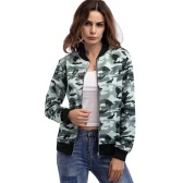 Autunno Inverno Donne Camouflage Bomber Jacket Zip Zip Baseball Coat Casual Streetwear Felpe Grey / Army Green