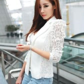 Autumn Women Blazer Jacket Lace Splicing Manga comprida Slim Suit Um botão Casual Casual Work Wear Black / White