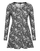 Maglietta a maniche lunghe con stampa flare e sciolto da donna Mixfeer - Donna Tunicata a tunica