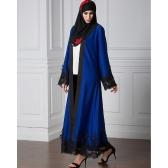 Mulheres muçulmanas Cardigan emendado Crochet Lace Hem Manga longa Islamic Abaya Maxi Dress Outwear Azul / Vermelho