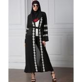 Mulheres muçulmanas Robe Cardigan Crochet Lace Long Sleeve Front Open Long Loose Abaya Dress Black