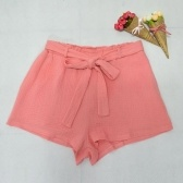 New Fashion Women Elastic High Waist Shorts Bowknot Sash Shorts Streetwear Rosa / Amarelo