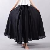 Nowa Moda Damska Długa Spódnica Jednolity Kolor Plisowany W Pasie Elegancka Elegancka Maxi Linia A Bohemia Spódnica