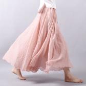 Mulheres novas Mulheres saia longa Cor sólida Cintura elástica plissada Elegante Maxi A-Line Saia Bohemia