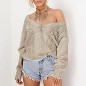New Women Twist Knitted Sweater Solid Sexy V Neck Long Sleeve Loose Warm Jumper Pullover Knitwear
