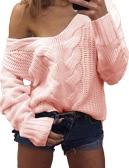 Neue Frauen Twist Strickpullover Solid Sexy V Neck Langarm Loose Warm Pullover Pullover Strickwaren
