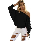New Women Knitted Sweater Off Shoulder Pullover Jumper Drawstring Long Sleeve Casual Loose Knitwear Tops