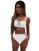 Sexy Women Lace Conjunto de duas peças Lace Up Bandage Vest Crop Top High Cintura Briefs Plunge Beach Tits Outfits