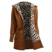 Winter-Frauen-Kapuzen-Mantel-Leopard-Vlies-Futter-Reißverschluss-warme beiläufige mit Kapuze Oberbekleidung