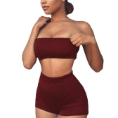 Sexy Women Bodycon Two Pieces Set Crop Top Shorts Sem mangas Backless Casual Top Pants Clubwear