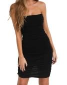 Sexy Women Off Shoulder Sleeveless Mini Bodycon Dress Slash Neck Strapless Basic Party Slim Dress Black/White