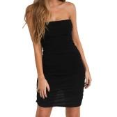 Sexy Women Off Shoulder Sleeveless Mini Bodycon Dress Slash Neck Sans bretelles Basic Party Slim Dress Noir / Blanc