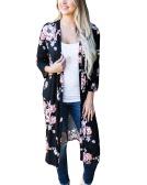 New Retro Women Long Cardigan Kimono Open Front Floral Print 3/4 Sleeve Vintage Outerwear