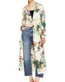 Women Floral Kimono Cardigan Deep V Neck Mangas compridas Elastic Waist Button Loose Long Coat Casual Tops