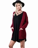 New Winter Autumn Women Knitted Cardigan Sweater Long Sleeves Pockets Elegant Outerwear Burgundy/Coffee/Khaki