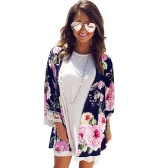 Moda Mulher Floral Impressão Loose Shawl Kimono Cardigan Lace Three Quarter Sleeve Boho Cover Up Tops Azul escuro