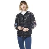 Winter-Frauen-Jacken-Mantel-Blumendruck Gesteppte lange Hülsen-Baumwolle gepolsterte dünne dicke Parka-Oberbekleidung-Schwarzes
