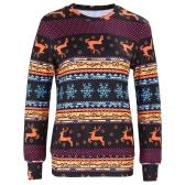 Winter Women Sweater Reindeer Snow Print O-Neck Long Sleeve Elegant Warm Pullover Christmas Tops Blouse