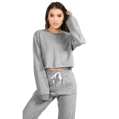 Femmes Sport Yoga Culotte Top Blouse O-Neck manches longues Casual Sportswear Pullover Top T-Shirt