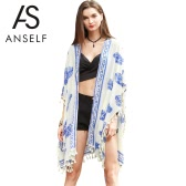 Nowej kobiet Kimono Cardigan Drukuj Tassel Fringe Casual Poncho Szal Cape Cover Up Topy Beige