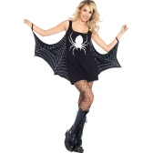 Women Halloween Costume Spider Dress Low Neck Role Play Sexy Adult Seductress Mini Fancy Dress Black