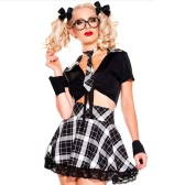 Seductive Women School Girl Traje de Halloween Plunging Crop Top Plaid Checked Falda 5 piezas Set Negro / Amarillo