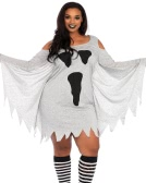 Sexy Women Plus Size Mini Dress Halloween Costume Ghost Print Fria Shoulder Batwing Masquerade Outfits Grey