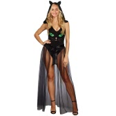 Kobiety Halloween Bodycon Bluza z kapturem Pretty Kitty Cat V-Neck Party Cosplay