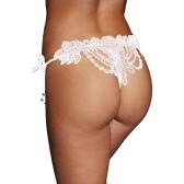 Sexy Mulheres Crochet Lace Lingerie G-String cintura baixa auto-Tie Strap frisada Thong Underwear preto / vermelho / branco