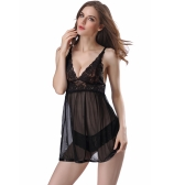 Sexy Women Lingerie Babydoll Lace Dress Set Sleepwear Underwear Transparent Nightwear Panties Set