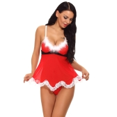 Sexy Women Christmas Lingerie Set Sheer Mesh Santa Babydoll Fur Trim Lace Backless Strap Dress G-String Nightwear Vermelho